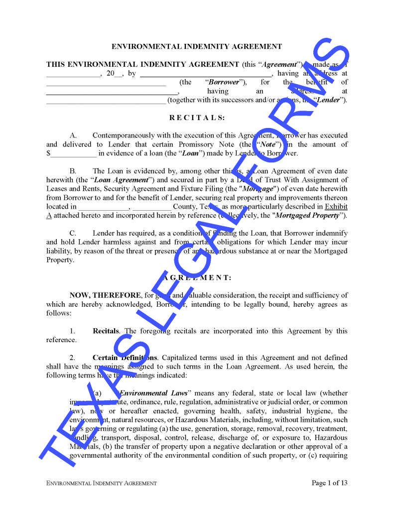 Texas Environmental Indemnity Agreement - Download Legal ...